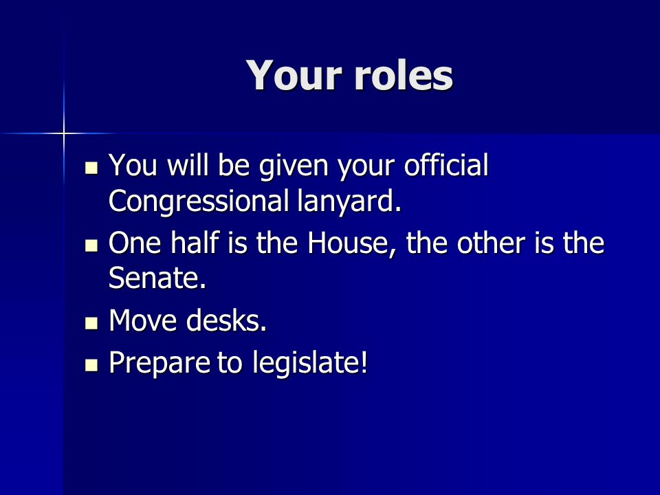 Your roles You will be given your official Congressional lanyard.