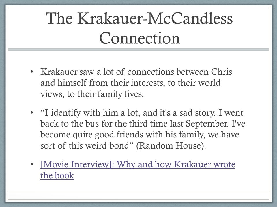 The Krakauer-McCandless Connection