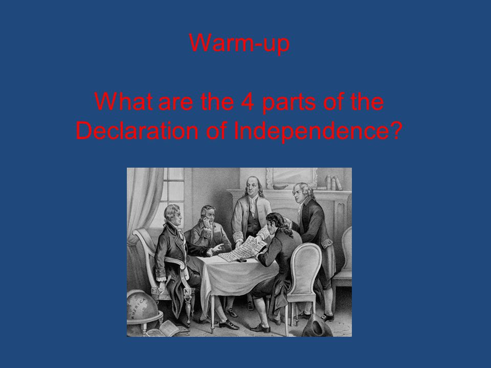 What are the 4 parts of the Declaration of Independence