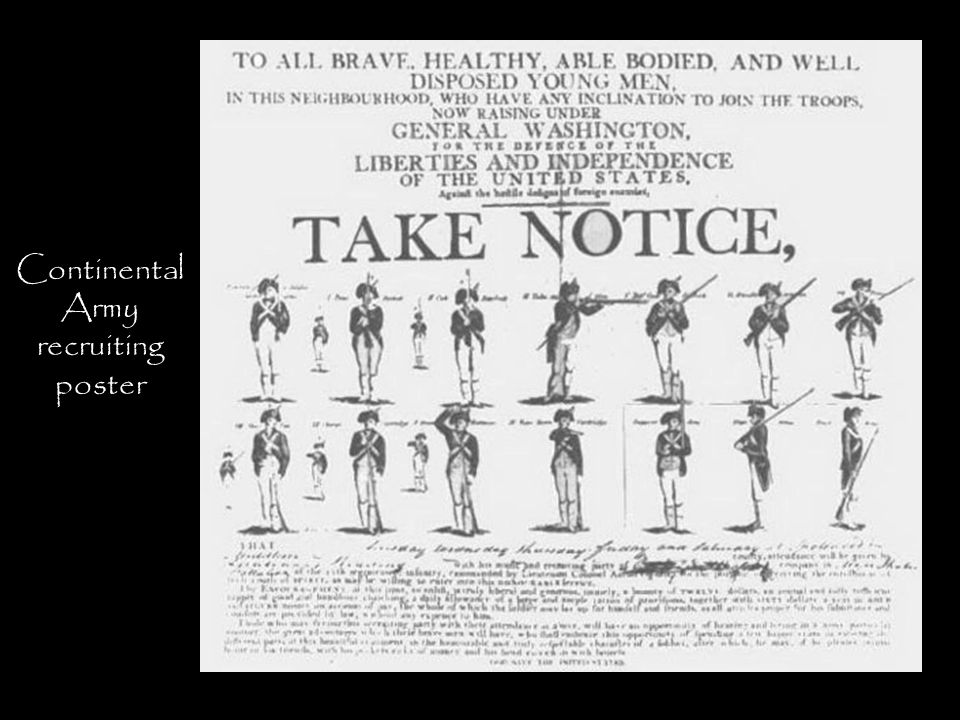 Continental Army recruiting poster