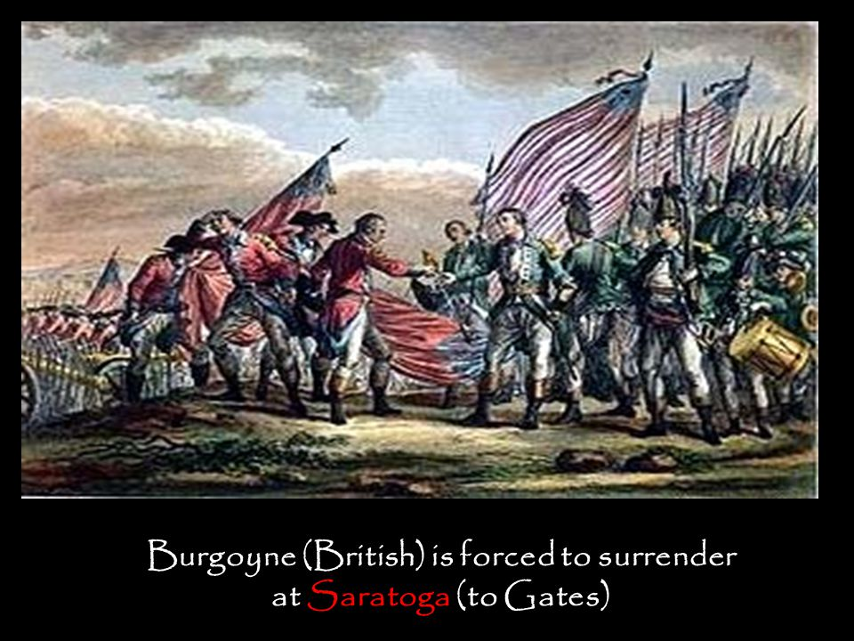 Burgoyne (British) is forced to surrender at Saratoga (to Gates)