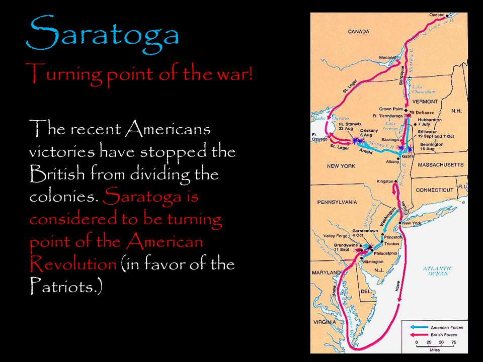 Saratoga Turning point of the war!