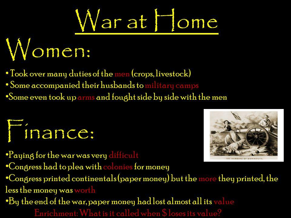 War at Home Women: Finance: