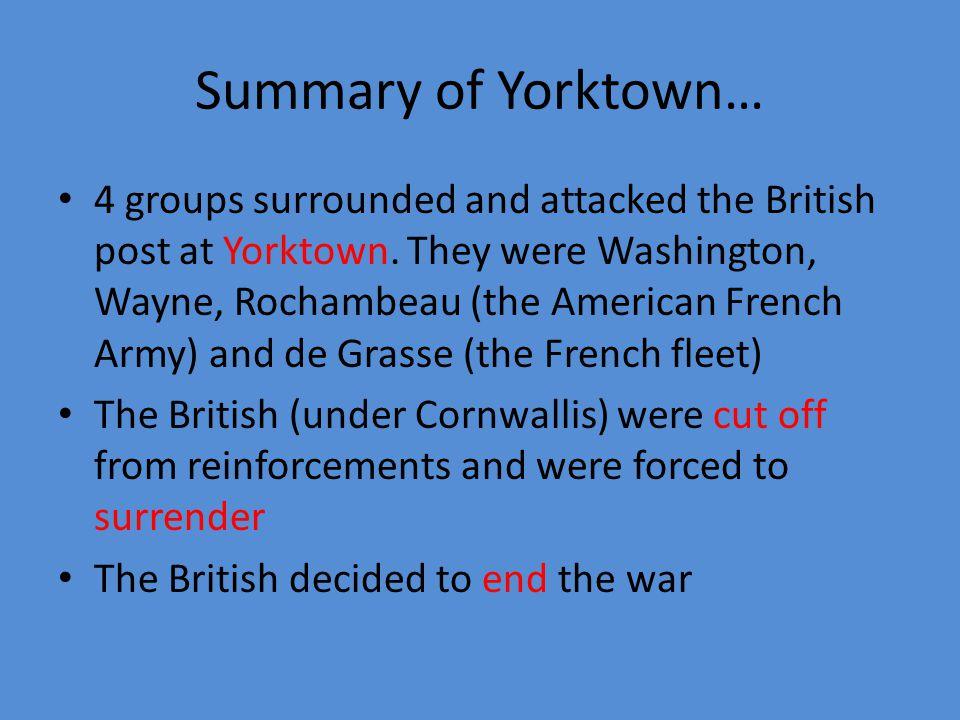 Summary of Yorktown…