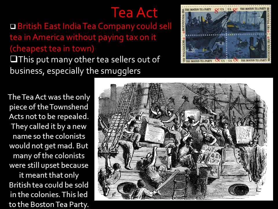 The Tea Act was the only piece of the Townshend