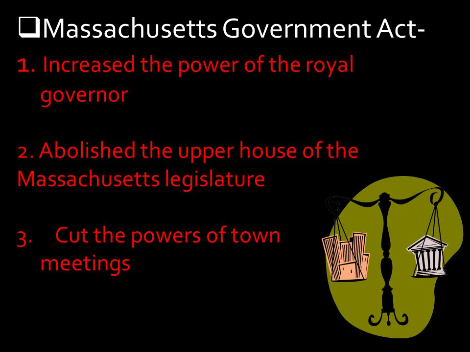 Massachusetts Government Act- 1. Increased the power of the royal