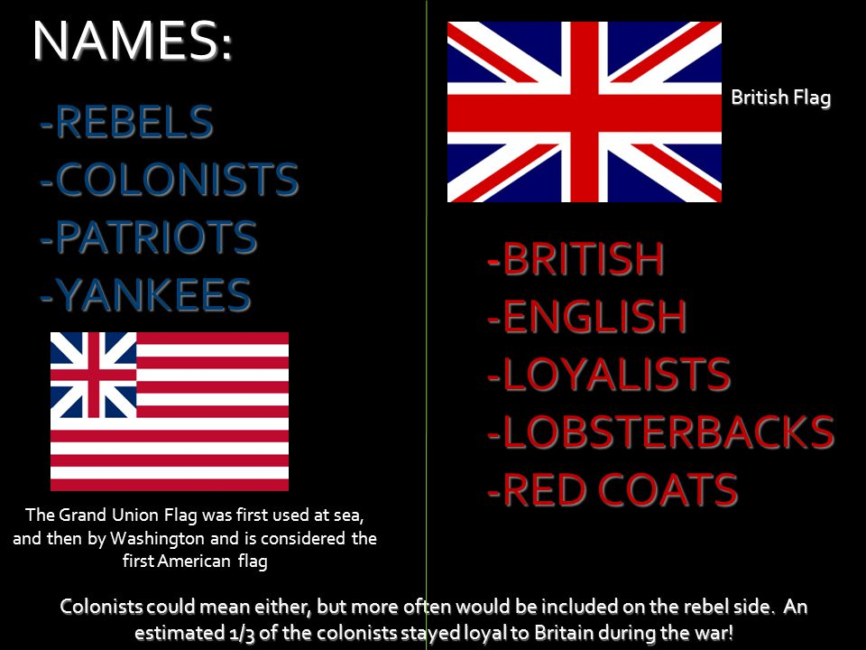 NAMES: REBELS COLONISTS PATRIOTS YANKEES -BRITISH -ENGLISH -LOYALISTS