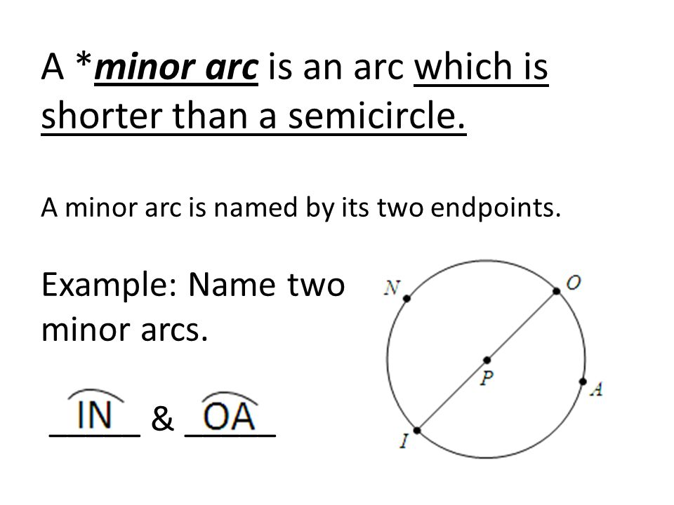 A. minor arc is an arc which is shorter than a semicircle
