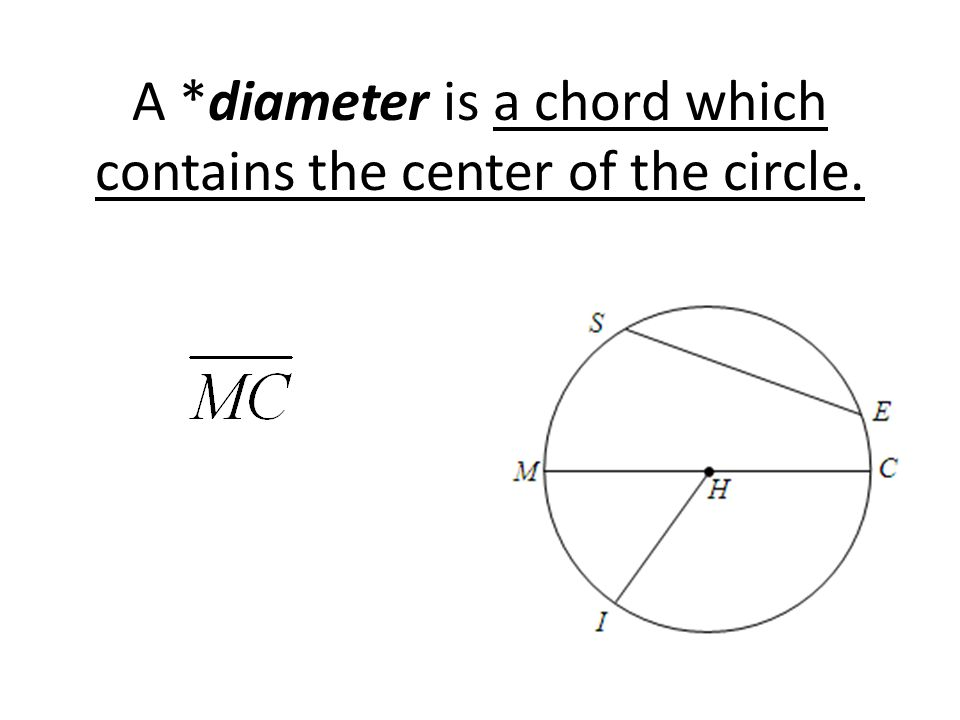 A *diameter is a chord which contains the center of the circle.