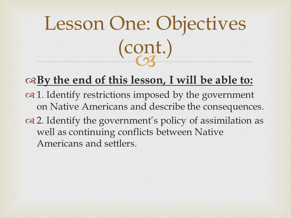 Lesson One: Objectives (cont.)