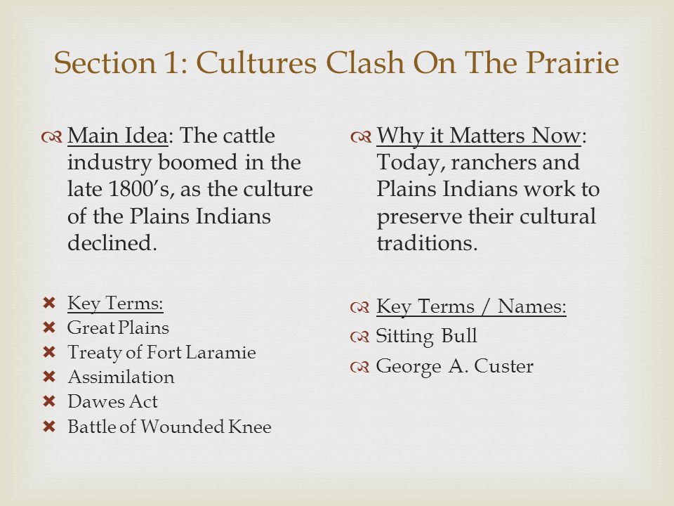 Section 1: Cultures Clash On The Prairie