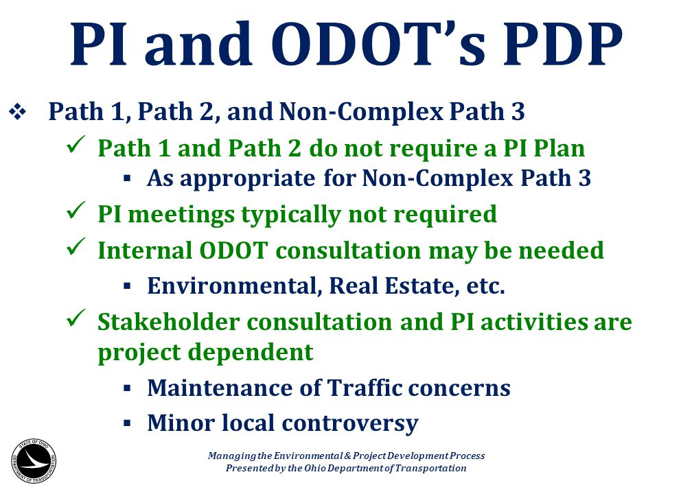PI and ODOT's PDP Path 1, Path 2, and Non-Complex Path 3
