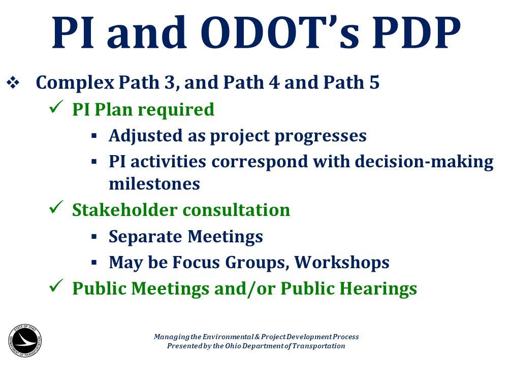 PI and ODOT's PDP Complex Path 3, and Path 4 and Path 5