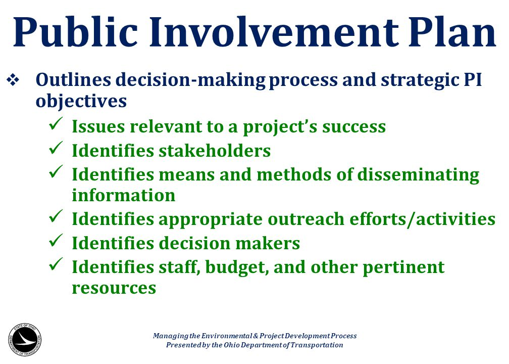 Public Involvement Plan