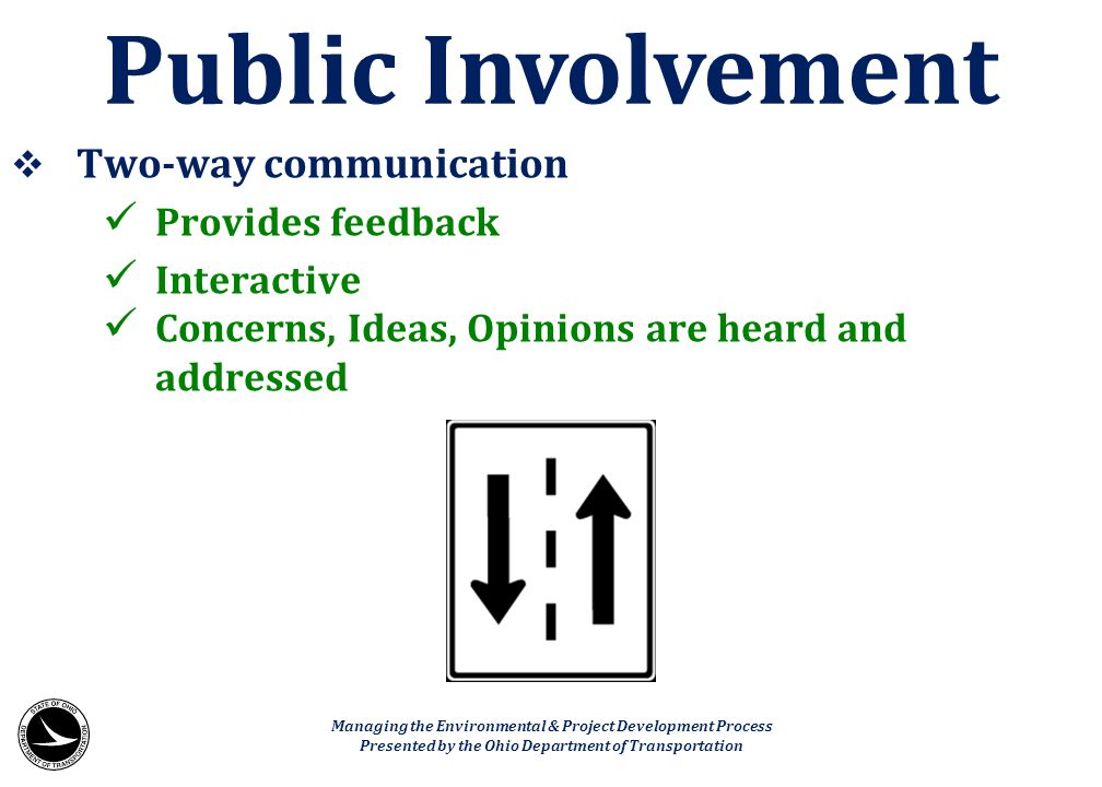Public Involvement Two-way communication Provides feedback Interactive