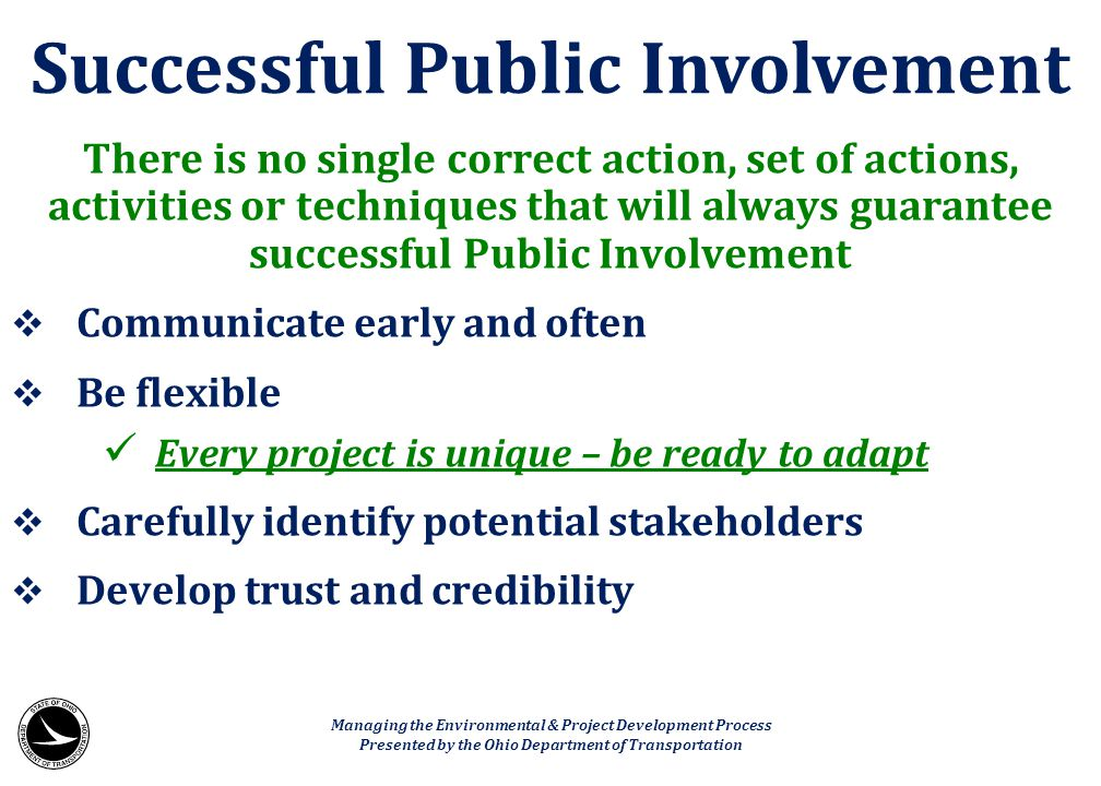 Successful Public Involvement