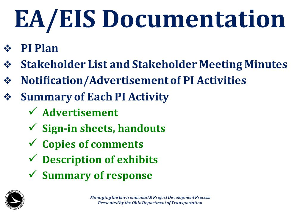 EA/EIS Documentation PI Plan