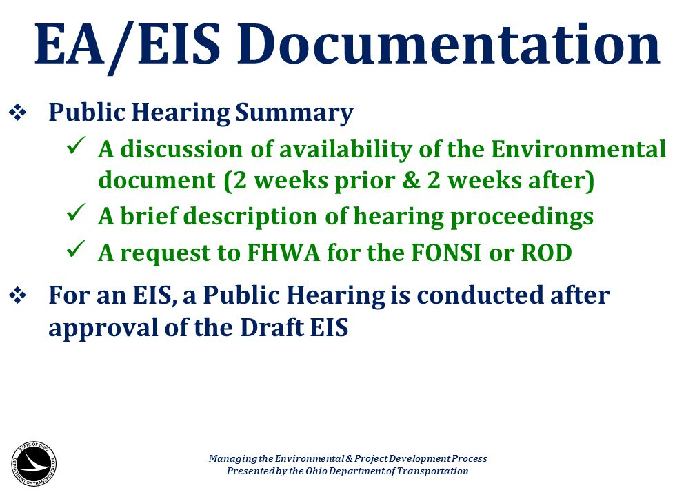 EA/EIS Documentation Public Hearing Summary