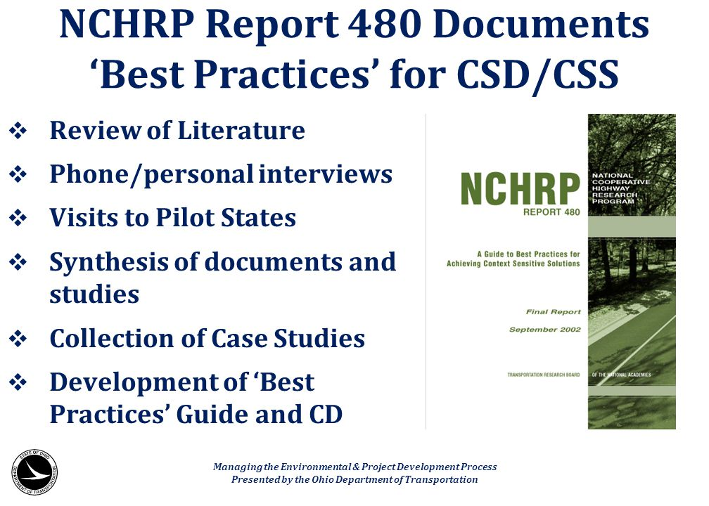 NCHRP Report 480 Documents 'Best Practices' for CSD/CSS