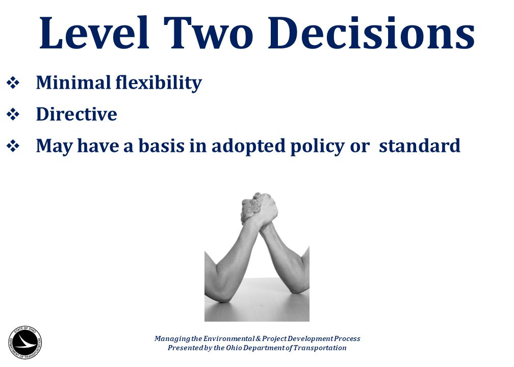 Level Two Decisions Minimal flexibility Directive