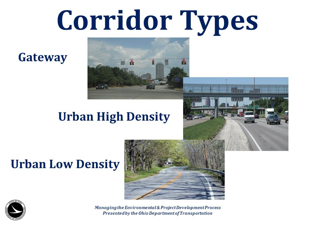 Corridor Types Gateway Urban High Density Urban Low Density