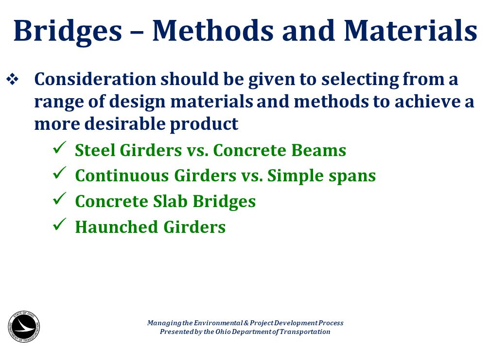 Bridges – Methods and Materials