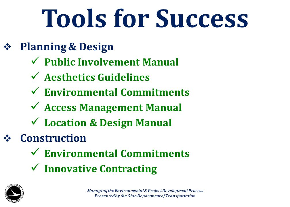 Tools for Success Planning & Design Construction