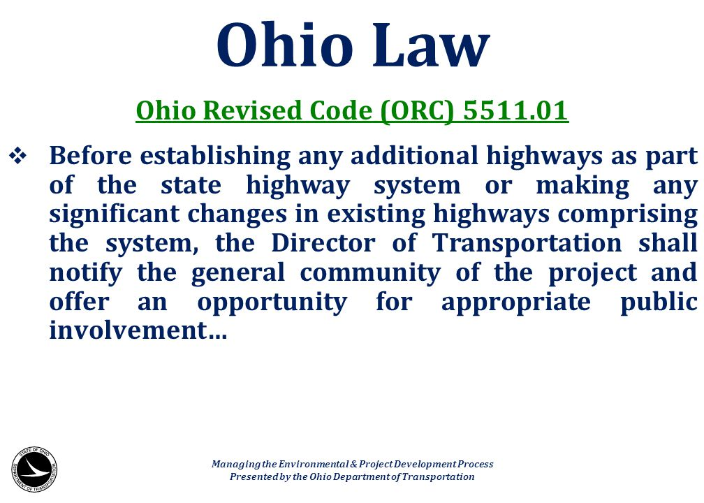 Ohio Law Ohio Revised Code (ORC) 5511.01