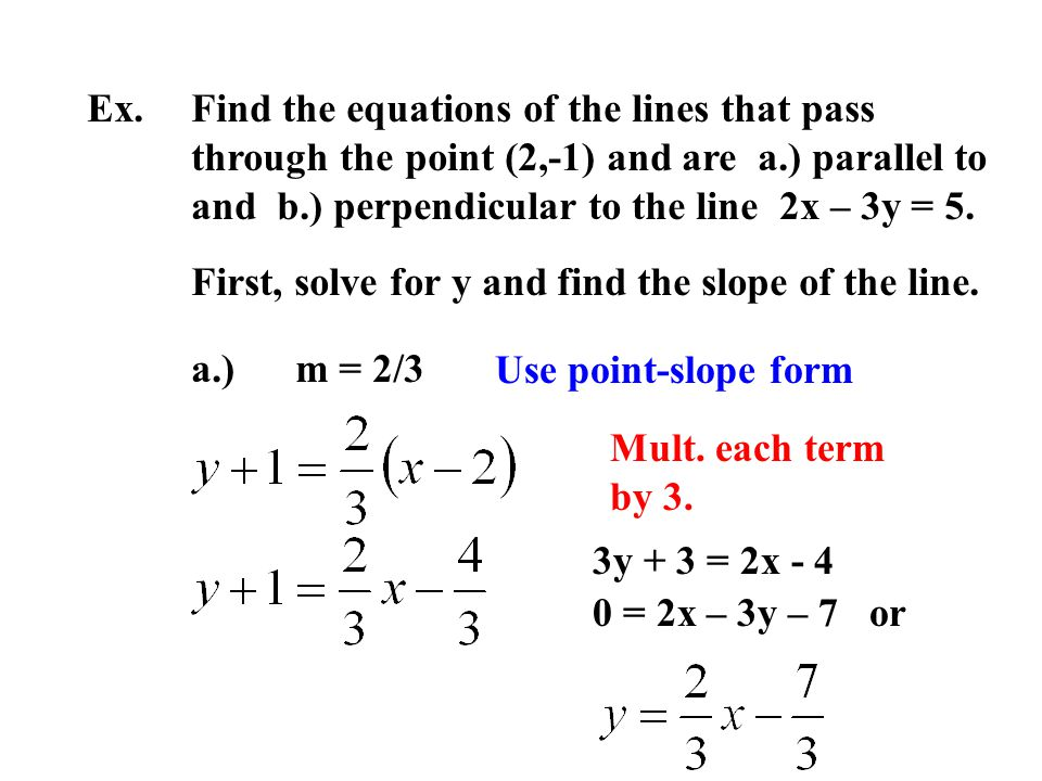 Ex. Find the equations of the lines that pass