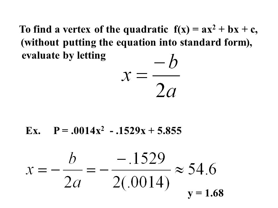 2.1 Quadratic Functions Use the graphing calculator and ...