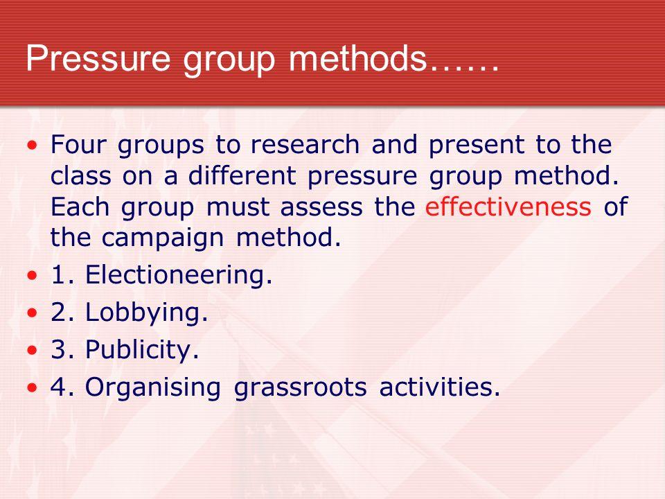 Pressure group methods……