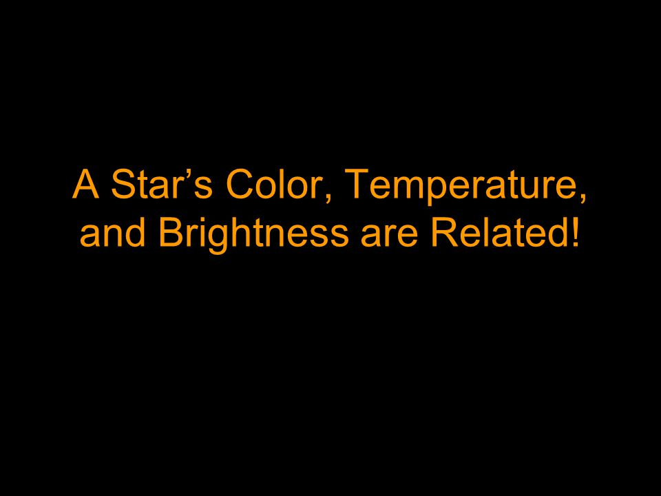 A Star's Color, Temperature, and Brightness are Related!