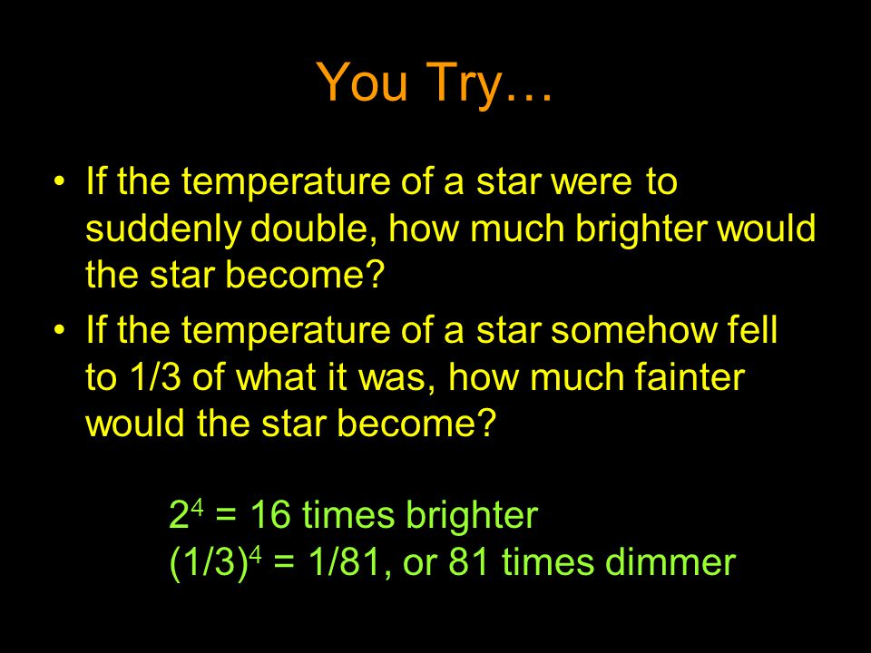 You Try… If the temperature of a star were to suddenly double, how much brighter would the star become
