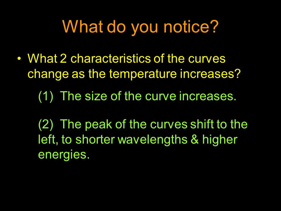 What do you notice What 2 characteristics of the curves change as the temperature increases The size of the curve increases.