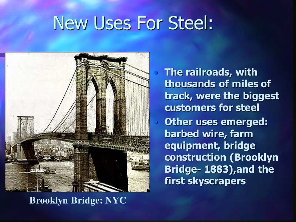 New Uses For Steel: The railroads, with thousands of miles of track, were the biggest customers for steel.