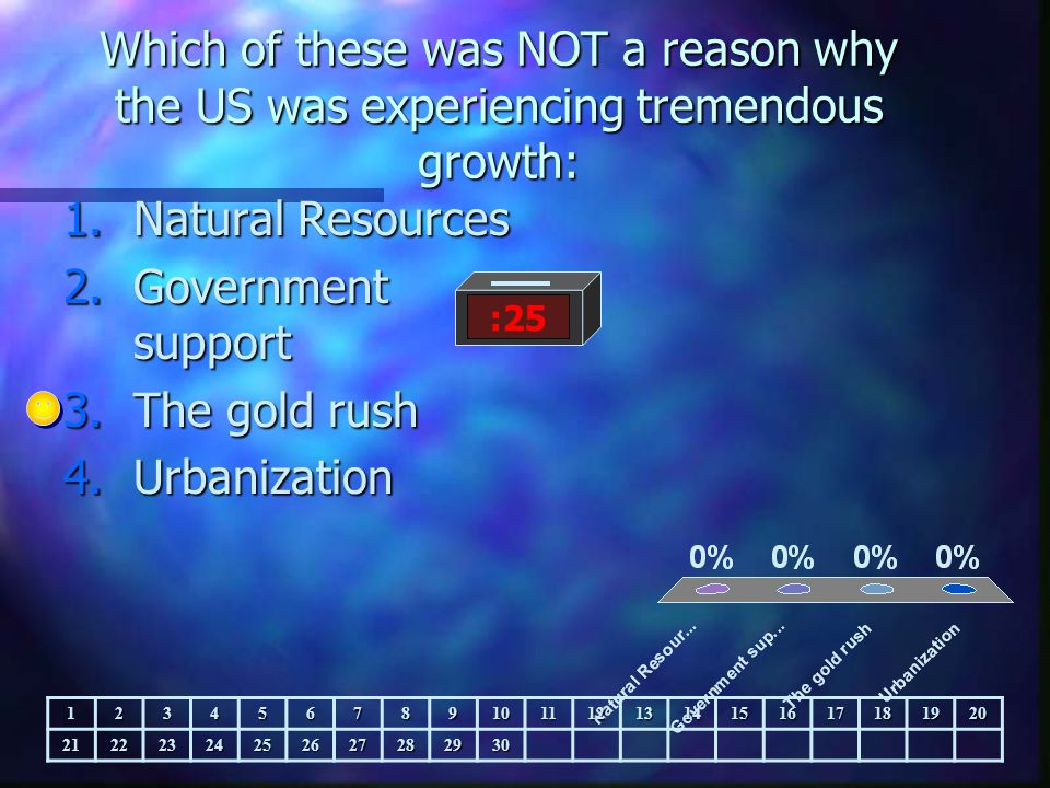 Which of these was NOT a reason why the US was experiencing tremendous growth: