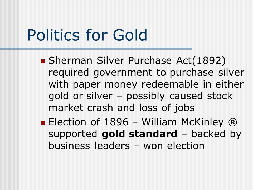 Politics for Gold