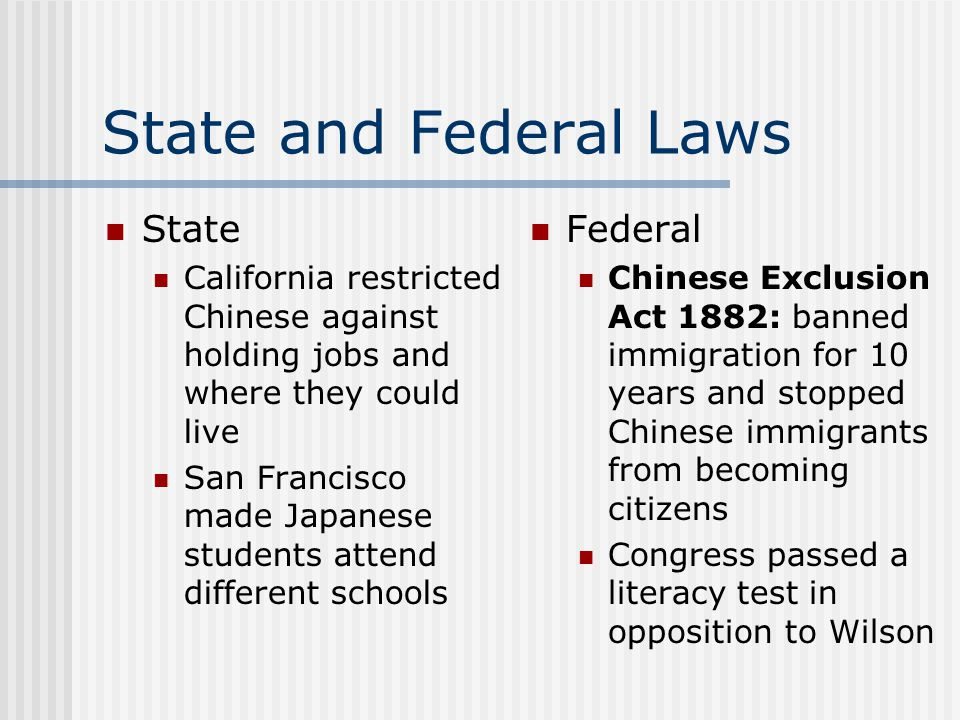 State and Federal Laws State Federal