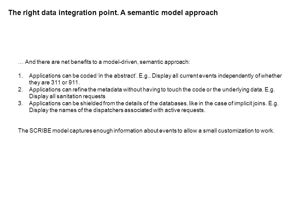 The right data integration point. A semantic model approach