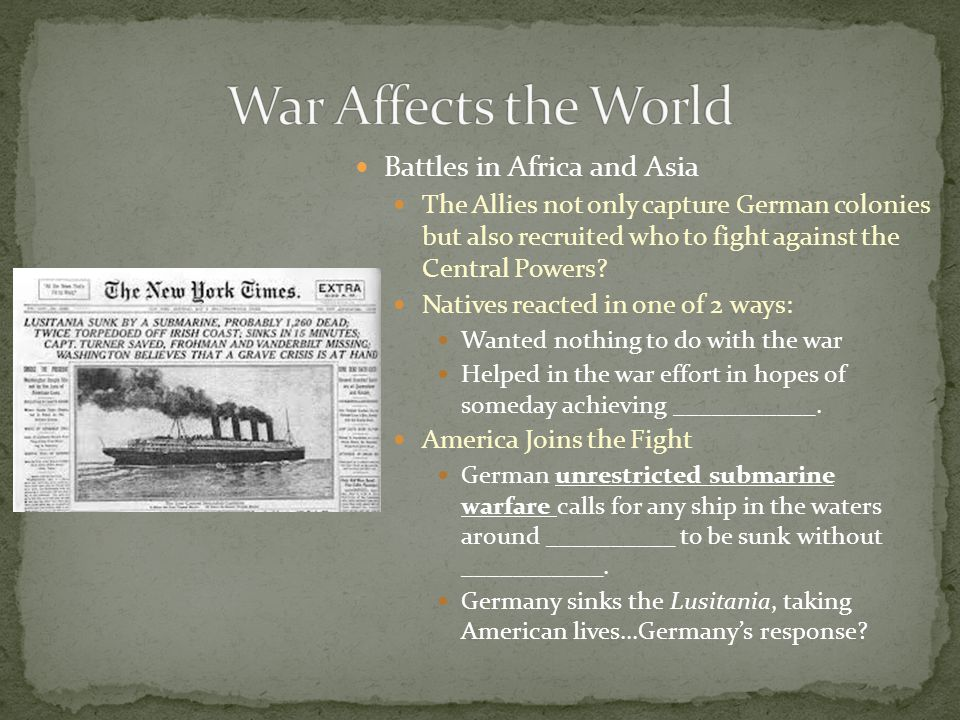 War Affects the World Battles in Africa and Asia