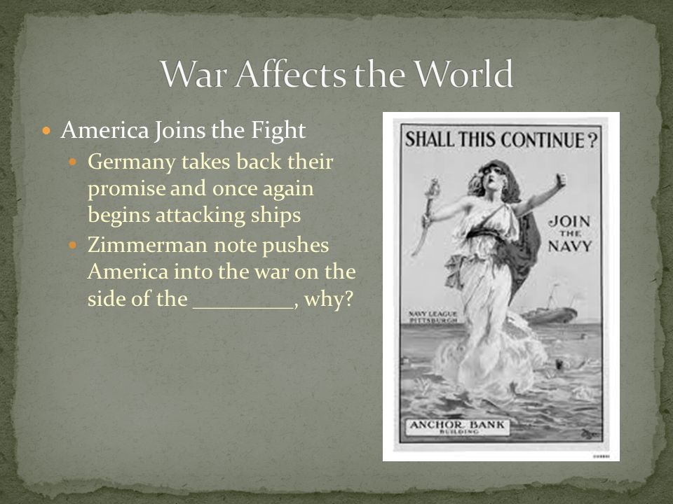 War Affects the World America Joins the Fight