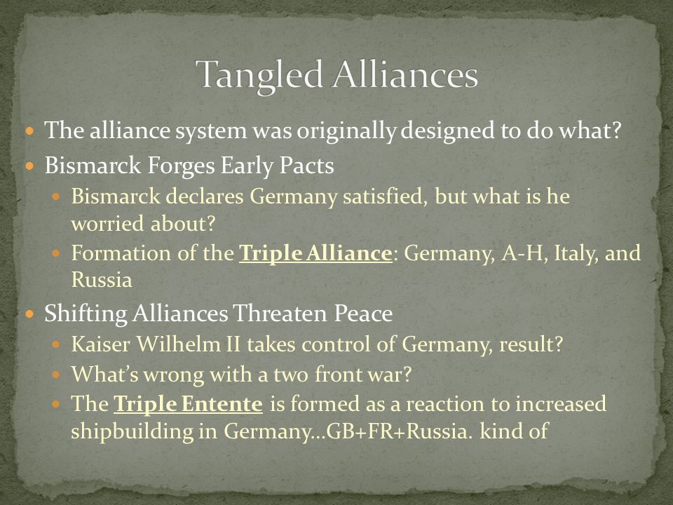 Tangled Alliances The alliance system was originally designed to do what Bismarck Forges Early Pacts.