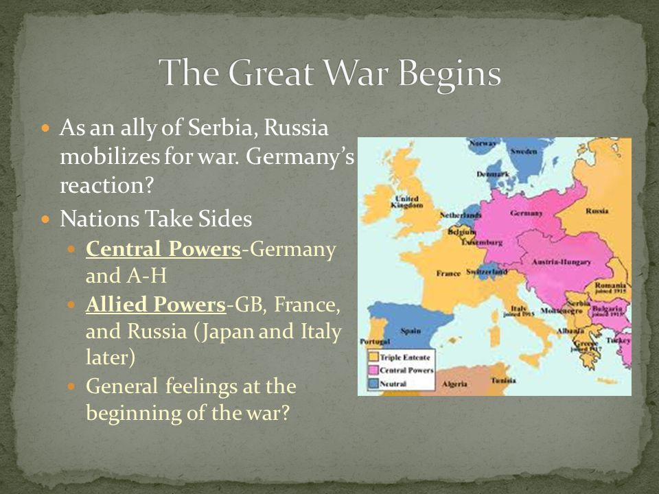 The Great War Begins As an ally of Serbia, Russia mobilizes for war. Germany's reaction Nations Take Sides.