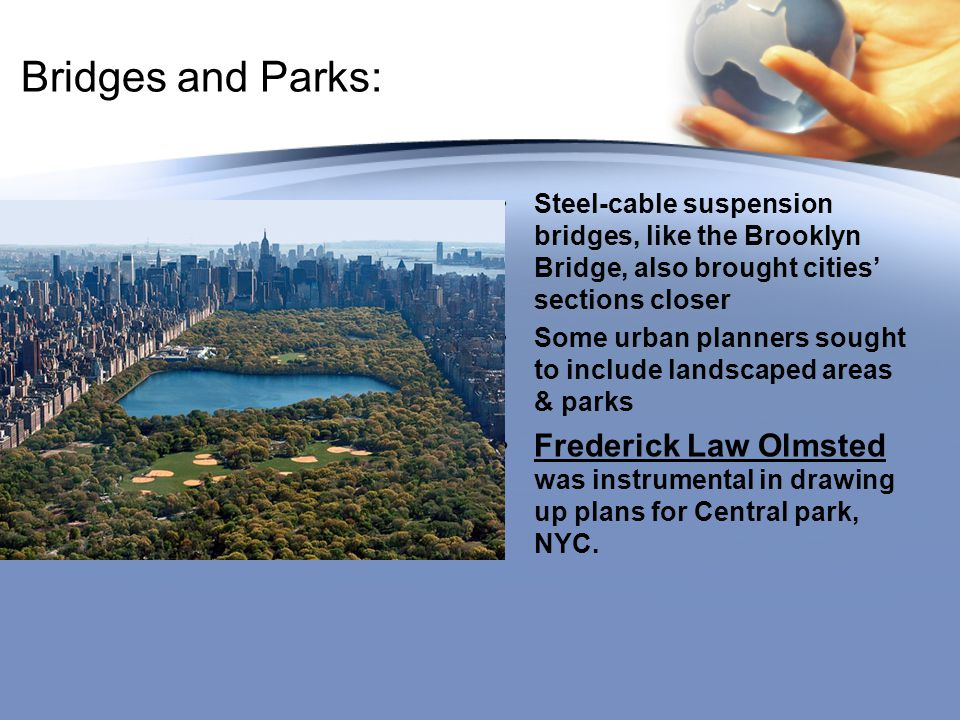 Bridges and Parks: Steel-cable suspension bridges, like the Brooklyn Bridge, also brought cities' sections closer.