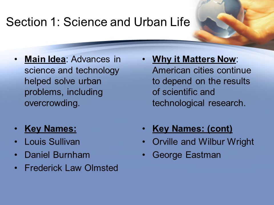 Section 1: Science and Urban Life