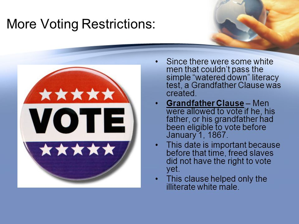 More Voting Restrictions: