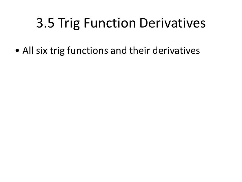 3.5 Trig Function Derivatives