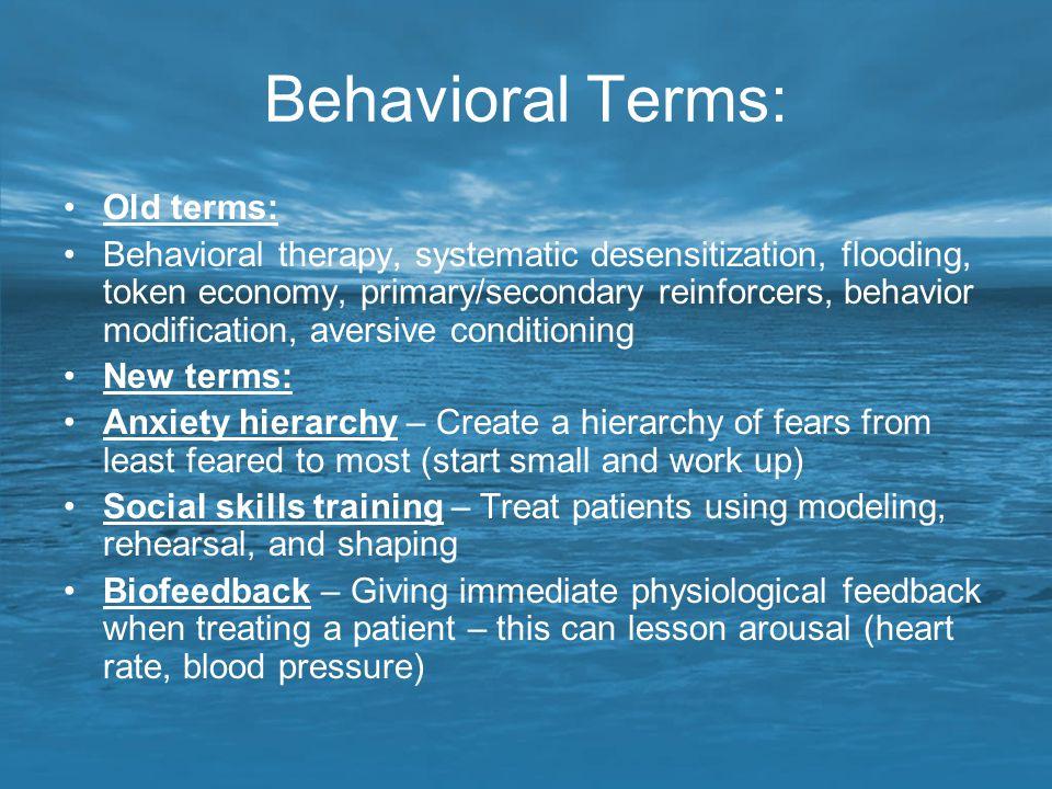 Behavioral Terms: Old terms: