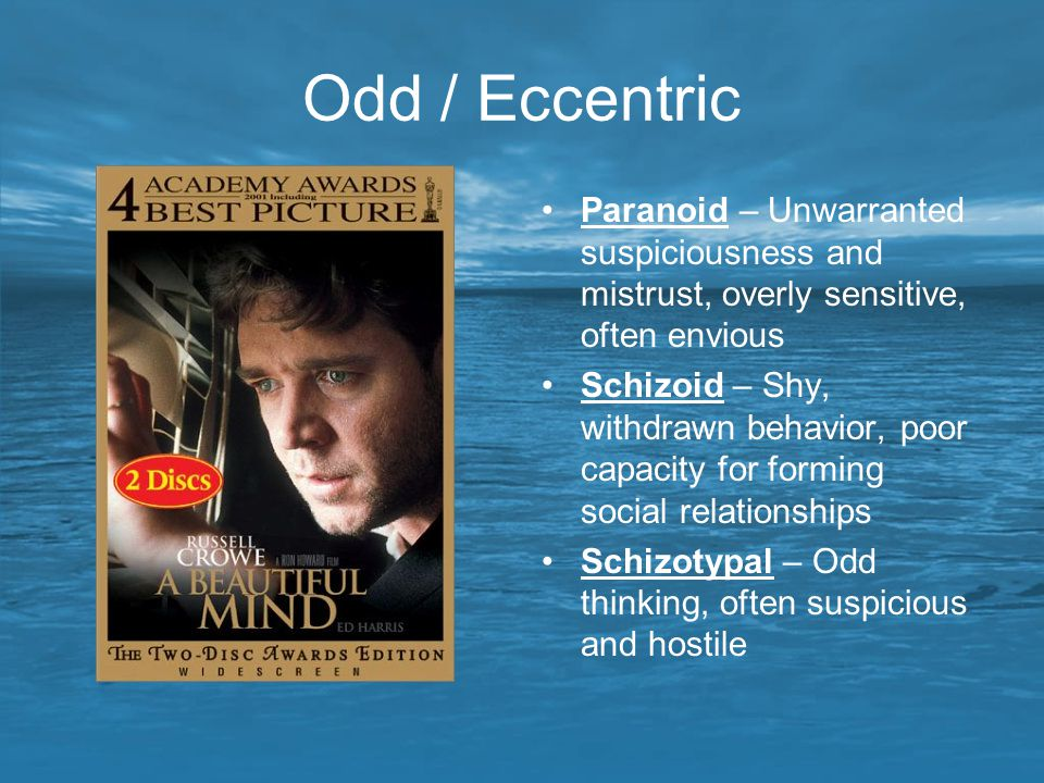Odd / Eccentric Paranoid – Unwarranted suspiciousness and mistrust, overly sensitive, often envious.