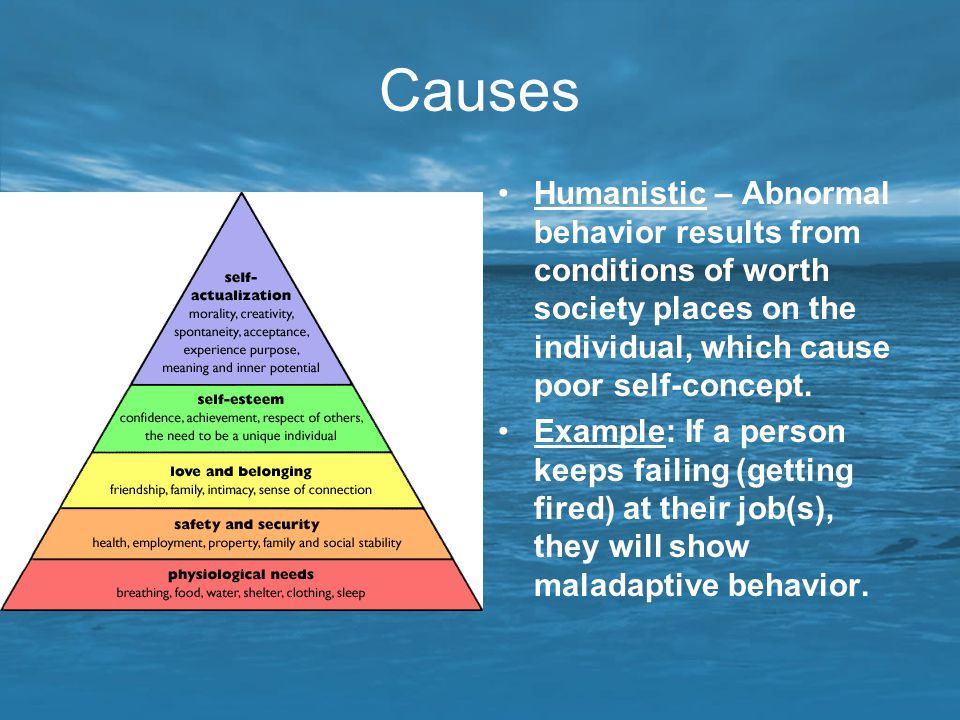Causes Humanistic – Abnormal behavior results from conditions of worth society places on the individual, which cause poor self-concept.